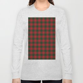 90's Buffalo Check Plaid in Christmas Red and Green Long Sleeve T-shirt