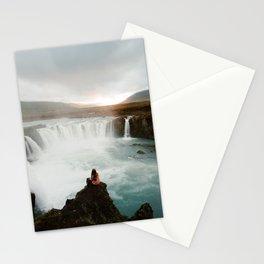 Last sunlight at Godafoss Waterfall Stationery Cards