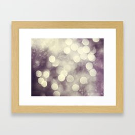 Sparkle Lights Abstract Photography, Neutral Brown Beige Purple Mauve, Bokeh Sparkly Photo Framed Art Print