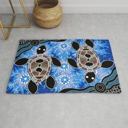 Sea Turtles - Authentic Aboriginal Art Rug