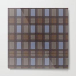 Brown and Blue Tartan Metal Print