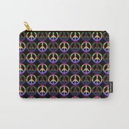 Rainbow Glitter Peace Sign | Symbol Pattern Carry-All Pouch