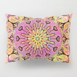 Pastel Rainbow Flower Mandala, Ultra Violet Geometric Boho Kaleidoscope Popart Pillow Sham