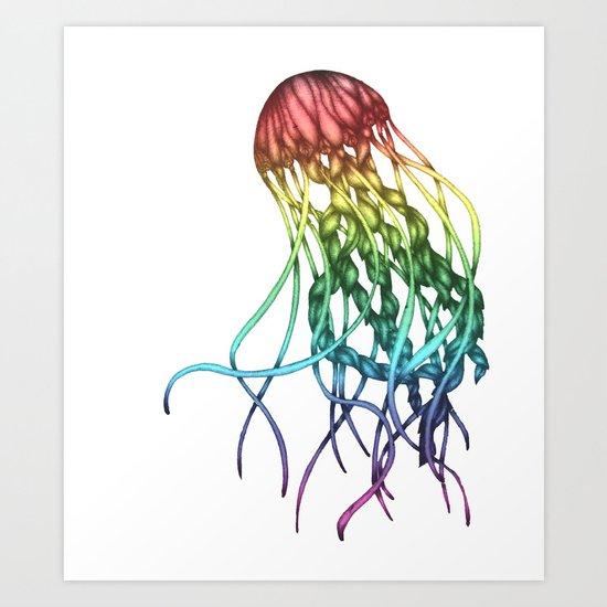 Rainbow Jelly Art Print