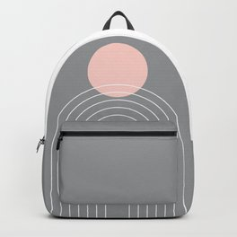 Mid Century Modern Geometric 76 in Ultimate Grey and Rose Gold (Sun and Rainbow abstraction) Backpack