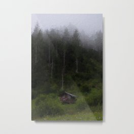 Tiny cabin in a pine forest with fog weather Metal Print