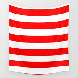 Horizontal Stripes - White and Red Wall Tapestry