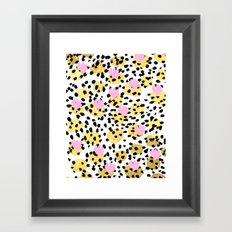 Pink Gold abstract painting foil trendy minimal modern art paint pattern gender neutral non binary  Framed Art Print