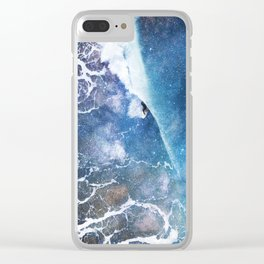 Surfing the wormhole Clear iPhone Case