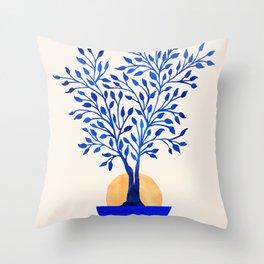 Indigo Ficus Sunrise Throw Pillow