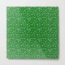 Evergreen Green & White Christmas Snowflakes Metal Print