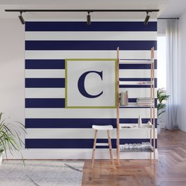 Monogram Letter C in Navy Blue and White Wall Mural