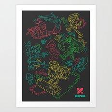 Squid Wars Art Print