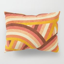 Vintage Orange 70's Style Rainbow Stripes Pillow Sham