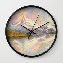 Matterhorn with Rainbow - Swiss Mountain Landscape Wall Clock
