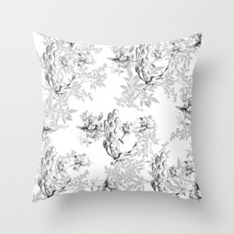 PEACOCK LILY TREE AND LEAF TOILE GRAY AND WHITE PATTERN Throw Pillow