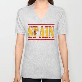 Spain Font with Spanish Flag Unisex V-Neck