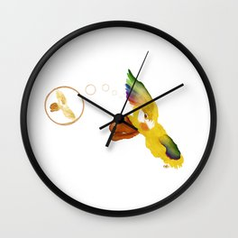 Illustrated coffee stain, Lorios, el loro Wall Clock