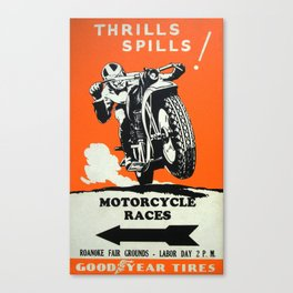 Vintage Racing Poster Motorcycle Races, Goodyear Tires - Vintage Poster Canvas Print