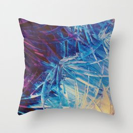 NIGHT FLOWERS - Beautiful Midnight Florals Feathers, Eggplant Lilac Periwinkle Cream Modern Abstract Throw Pillow