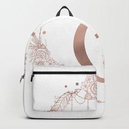 Letter C Rose Gold Pink Initial Monogram Backpack