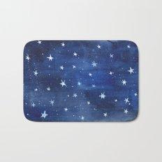 Midnight Stars Night Watercolor Painting by Robayre Bath Mat