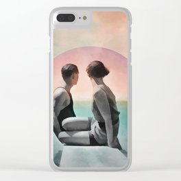 Collage Couple in Sunset Clear iPhone Case
