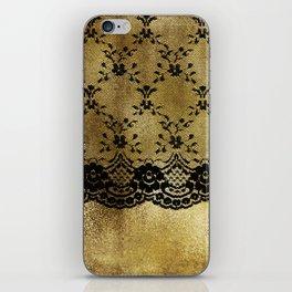 Black floral elegant lace on gold metal background iPhone Skin