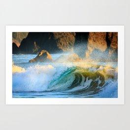 A Wave Lights Up at Sunset Art Print