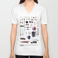 bands V-neck T-shirts featuring Famous Weapons by Daniel Nyari