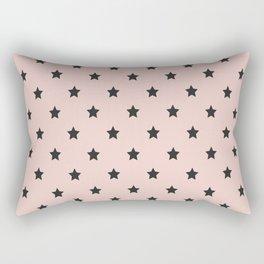 Black stars pattern on pastel pink background Rectangular Pillow