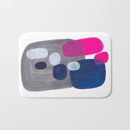 Mid Century Modern Minimalist Colorful Pop Art Grey Navy Blue Neon Pink Color Blobs Ovals Bath Mat