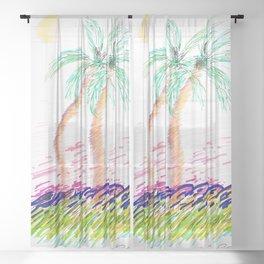 """""""Sister Palms"""" Mixed Media Sketch Sheer Curtain"""