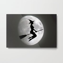 Witch On a Broom Against the Moon Metal Print