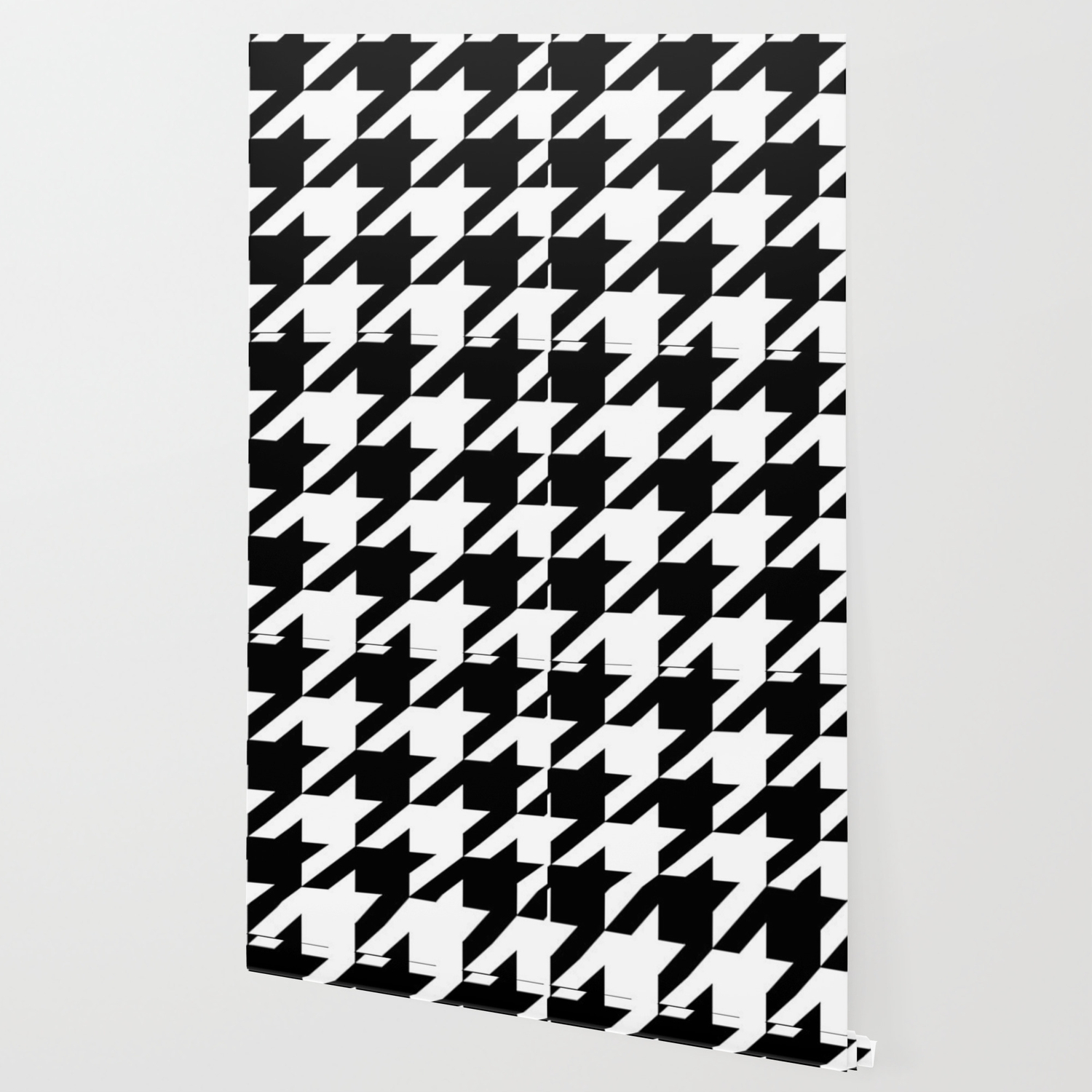 Retro Fashion Classic Modern Pattern Black And White Houndstooth Wallpaper