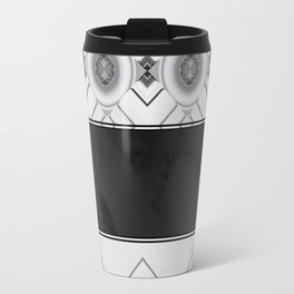 Modern Black and White Marble Geo Pattern Travel Mug