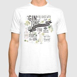 Gin Tonic Recipe In Watercolor T-shirt