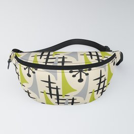 Mid Century Modern Atomic Wing Composition Green & Grey Fanny Pack