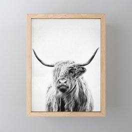 portrait of a highland cow - (vertical) Framed Mini Art Print