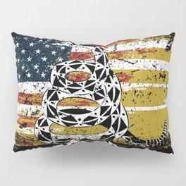 Don't Tread on Me Military USA American Flag Rattlesnake Distressed Design American Revolution Pillow Sham