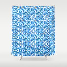 Tangerine and Blue Deco Pattern Shower Curtain