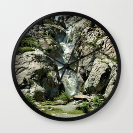 waterfall rope bridge kaunertal alps tyrol austria europe 2 Wall Clock