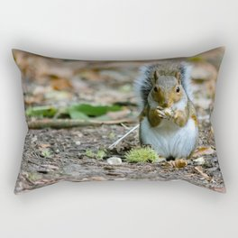 Gray squirrel stood upright eating a nut Rectangular Pillow