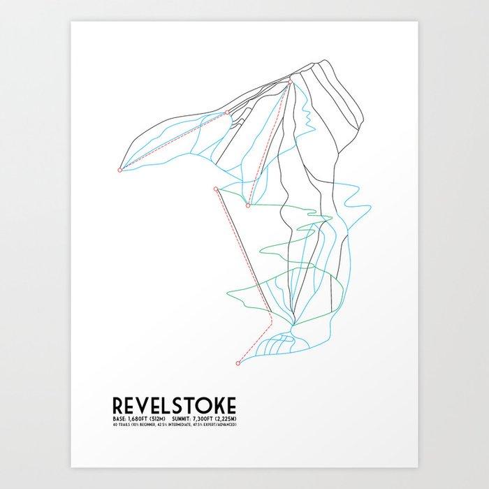 Revelstoke, BC, Canada - Minimalist Trail Map Kunstdrucke