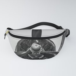 Airplane Propellor Vintage Flight Aircraft Wing Black White Print Fanny Pack