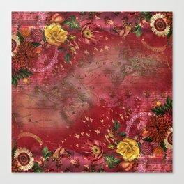 Vintge Cartography World Map wth Red Flora Arrangements Canvas Print