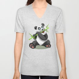 Baby Panda and His Bamboo Unisex V-Neck