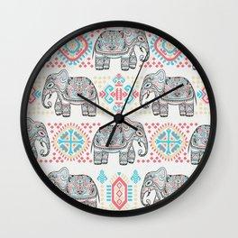 Elephant Parade,  Boho Pattern Wall Clock