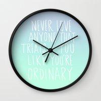 oscar wilde Wall Clocks featuring Oscar Wilde: Ordinary by Leah Flores