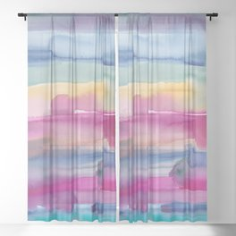 32    190907   Watercolor Abstract Painting Sheer Curtain